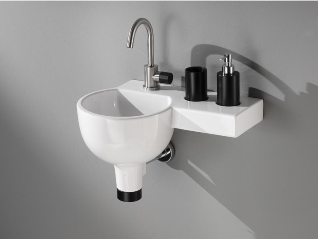 Lille rund håndvask med bordplade